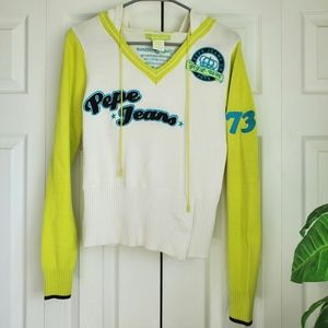 Pepe Jeans Lime Hooded Sweater Size Large